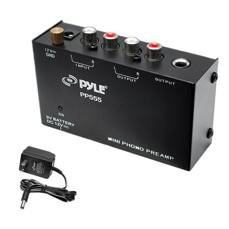 Audio Preamplifier - Pyle Ultra Compact Phono Turntable Pre-Amplifier w/ 9 V Battery Compartment