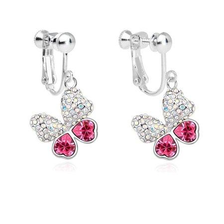 (Coppoo Fashion Charm Jewelry Women Butterfly Screw Back Clip on Earring Non-Pierced Swarovski Elements Crystal Red)