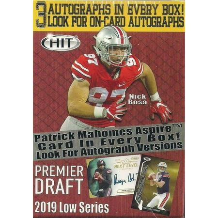 2019 Sage Low Draft Picks Football Blaster Box- 70 trading cards | 3 Autographs |1 Patrick Mahomes Card 1999 Victory Autographed Card