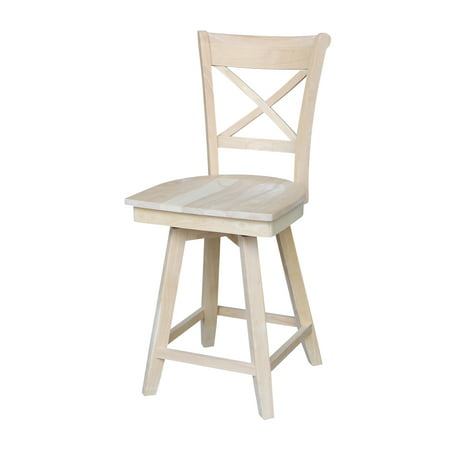 Charlotte Swivel - Charlotte Counterheight Stool with Swivel and Auto Return - Unfinished