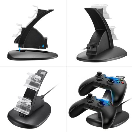 LED Dual Gaming Controller Charging Dock Station Charger for Xbox One / One S / One X