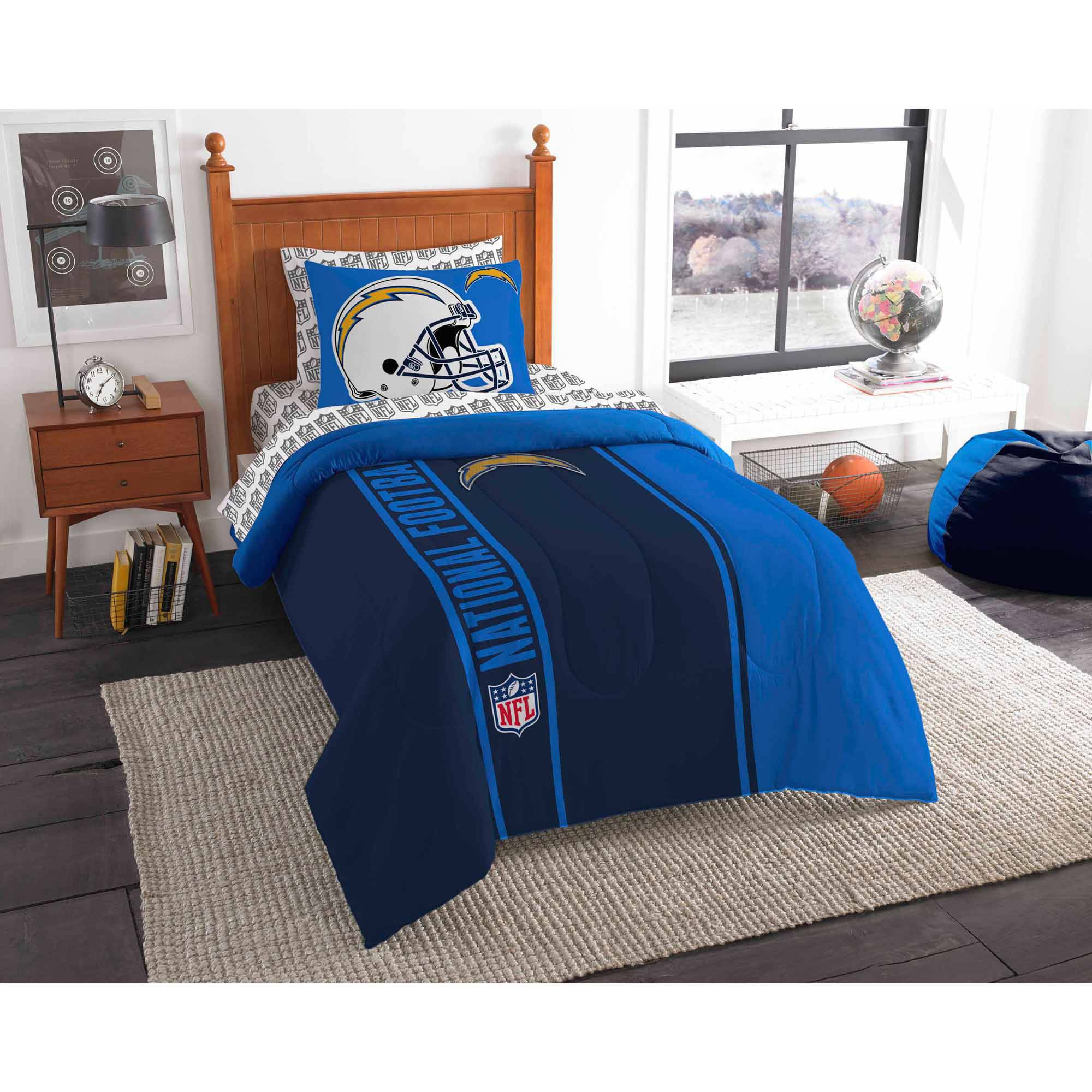 NFL San Diego Chargers Soft and Cozy Bed in a Bag Complete Bedding Set
