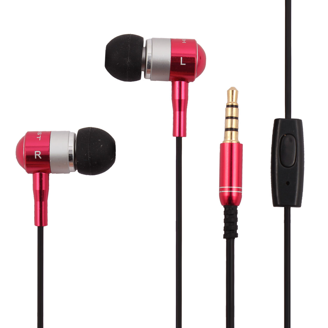 3.5mm Jack In-Ear Earbuds Heaphones Headset Stereo Earphone Fuchsia w Mic