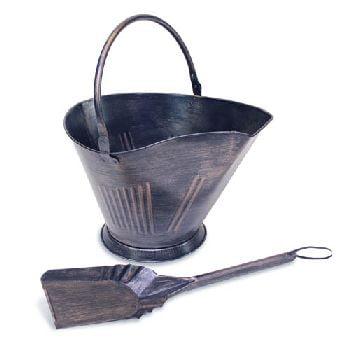 Coal/Pellet Bucket with Shovel-Antique Brushed Copper