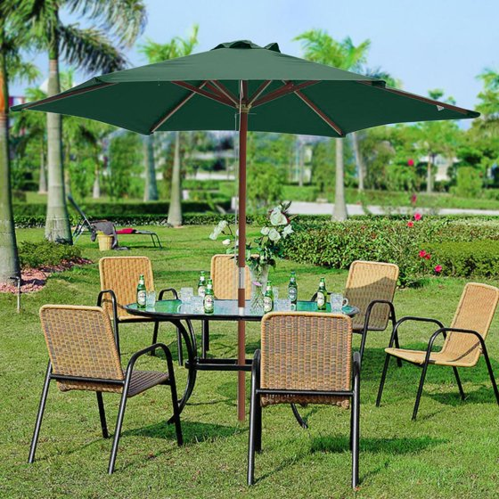 c6bae4af4e Yescom 8ft Wooden Outdoor Patio Green Umbrella W/ Pulley Market Garden Yard  Beach Deck Cafe Sunshade