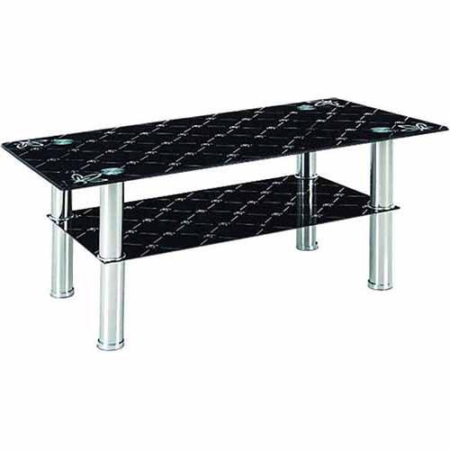 Hodedah Glass Rectangle Coffee Table, Black