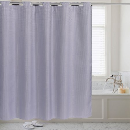 Sweet Home Collection Hookless Fabric Shower Curtain Waffle Weave With Snap Off Liner