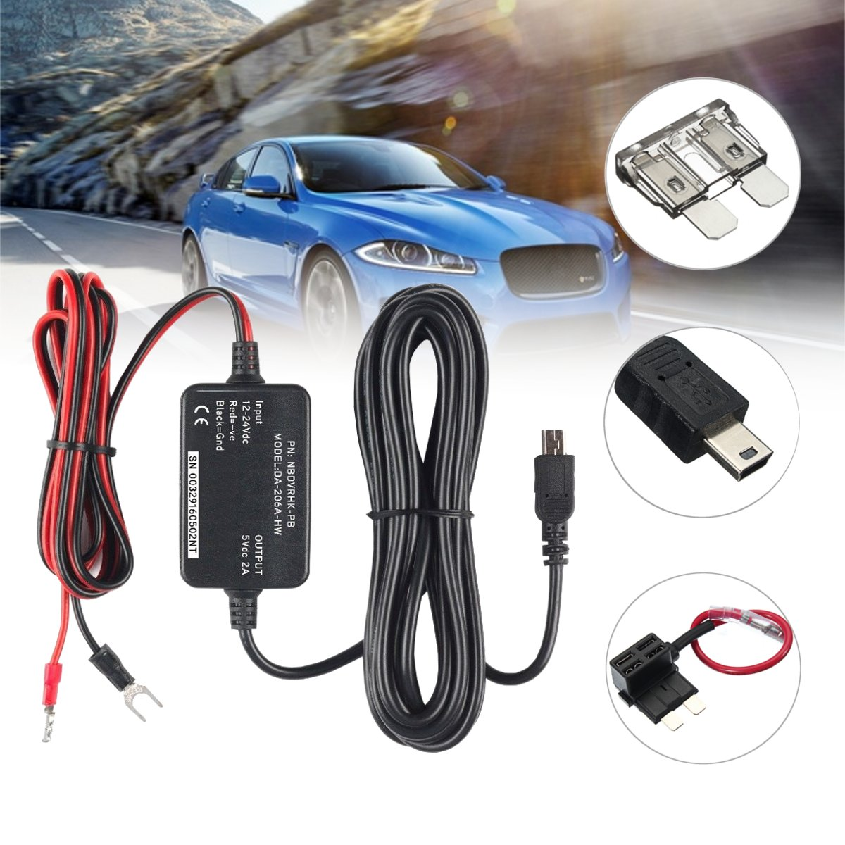 Car Hard Wire Kit Mini USB Hardwire for Dash Cam Camcorder Vehicle DVR