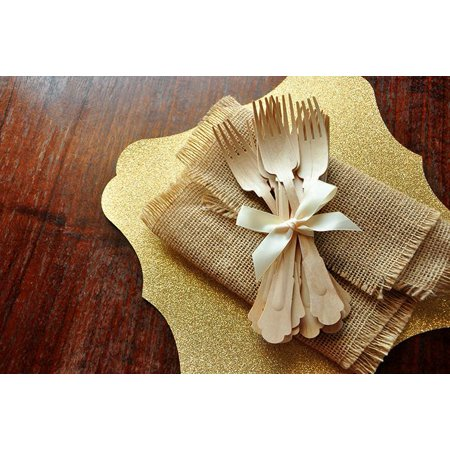 Wooden Forks for Wedding Tablesettings  Ships in 1-3 Business Days   Barouque Style Wooden Cutlery  Eco Friendly Party Utensils  Set of 10