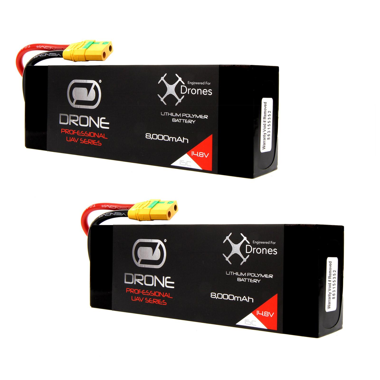 VENOM 8000mAh 4S 14.8V Drone Professional High Capacity Battery, 15C LiPo with XT90-S Plug x2 Packs