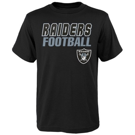 Youth Black Oakland Raiders Outline T-Shirt