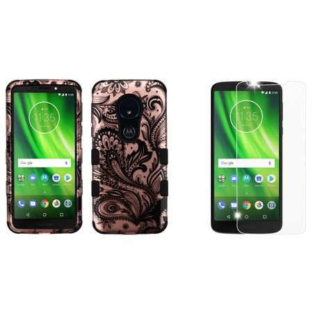 Bemz Accessory Bundle for Moto E5 (XT1920DL) - TUFF Hybrid Series Protective Phone Case (2D Paisley Flowers) with Tempered Glass Screen Protector and Atom Cloth