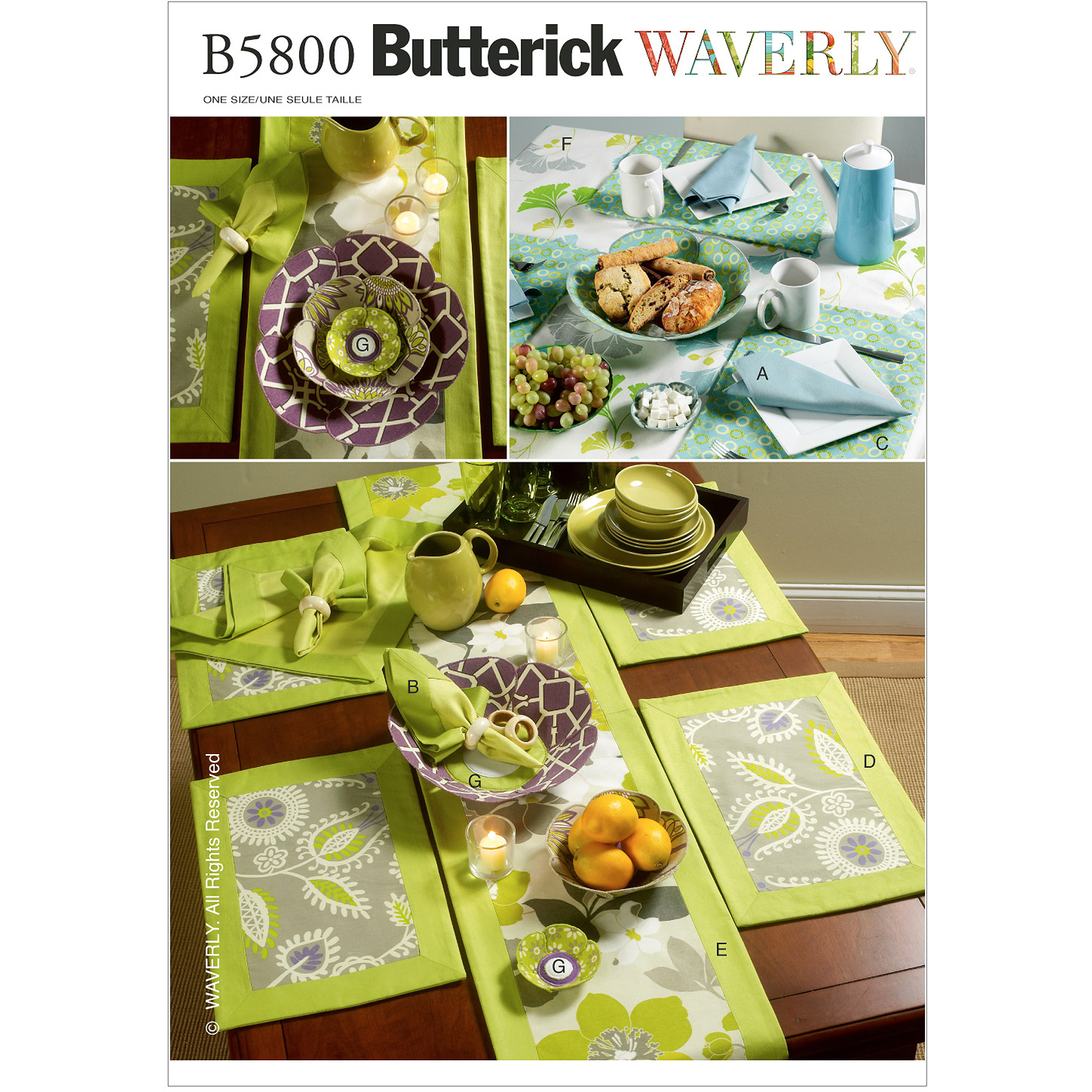 Butterick Pattern Napkins, Placemats, Table Runner, Table Cloth and Flower Bow, 1 Size