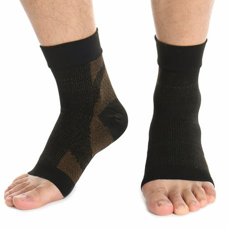 CFR Copper Compression Recovery Foot Sleeves / Ankle Sleeve / Plantar Fasciitis Support Socks. Guaranteed Highest Copper Content. For Heel Spurs, Arch Pain, Foot Swelling & Ankle Injuries (1
