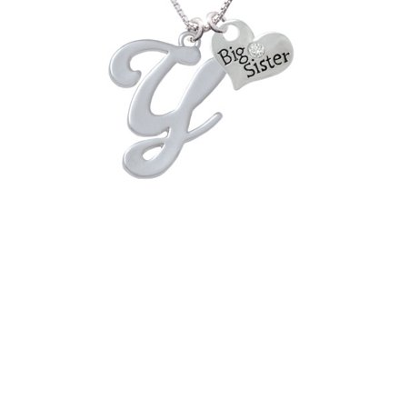 Large Gelato Script Initial   Y   Big Sister Heart Necklace  18  2