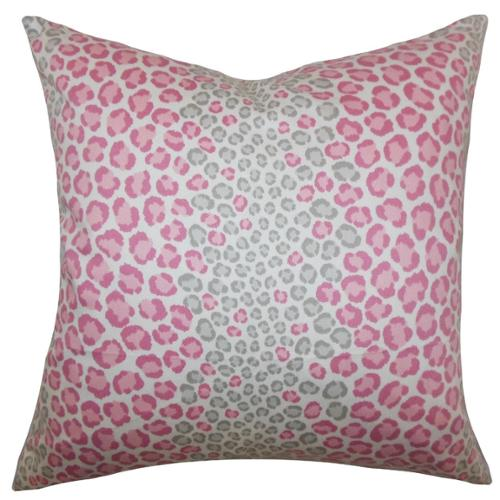 Mailys Animal Print Pink Feather and Down Filled Throw Pillow 20-inch