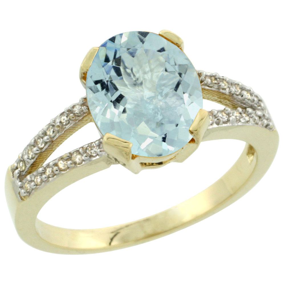 14K Yellow Gold Diamond Halo Natural Aquamarine Ring Oval 10x8mm, sizes 5-10 by WorldJewels