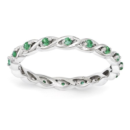 Sterling Silver Stackable Expressions Created Emerald Ring Size 6 - image 3 of 3