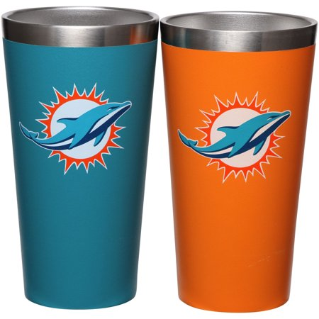 - Miami Dolphins Team Color 2-Pack Stainless Steel Pint Glass - No Size