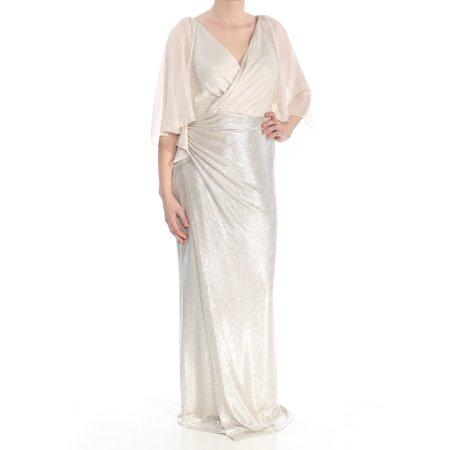 RALPH LAUREN Womens Gold Ruched Sheer Sparkle Bell Sleeve V Neck Full-Length Sheath Formal Dress  Size: 10