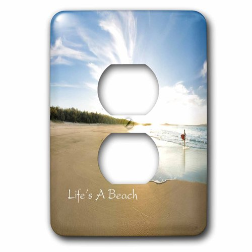 3dRose Print of Beach And Waves With Inspirational Message, 2 Plug Outlet Cover