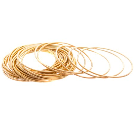 FROG SAC Gold Guitar String Coil Bracelets for Women Girls Teens – Gold Plated Iron Stackable Spiral Bangle Bracelets with Free Black Velvet Pouch - 48 PCS