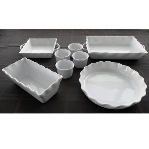 White Stoneware Bakeware 8-piece Set