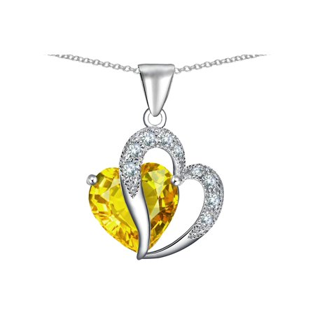Star K Heart Shape 12mm Simulated Citrine Pendant Necklace in Sterling Silver
