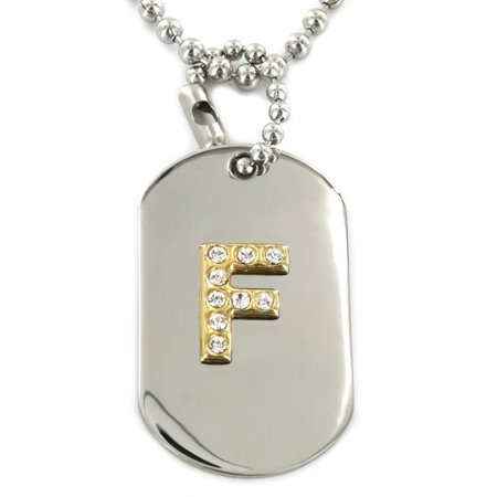 Coastal Jewelry Two Tone Crystal Letter 'F' Initial Dog Tag Pendant Jewelry Initial Letter