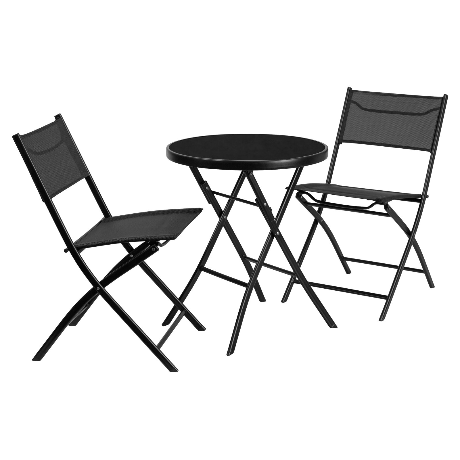 Flash Furniture 23.75'' Round Tempered Glass Metal Outdoor Table with 2 Textilene Fabric Folding Chairs