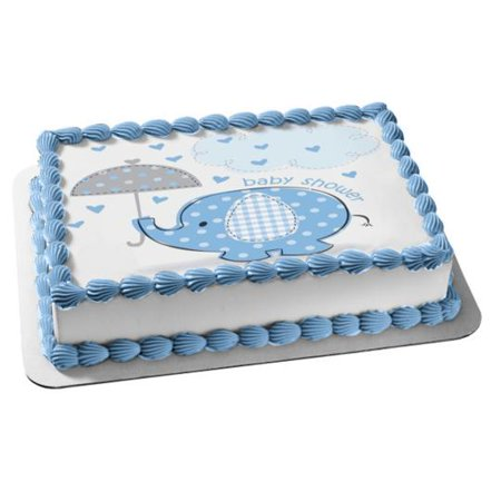 Elegant Birthday Cakes (Little Blue Elephant With Umbrella Boy Baby Shower Edible Cake Topper)