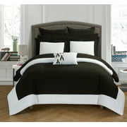 Chic Home 7-Piece Ivanka MODERN TWO TONE REVERSIBLE HOTEL COLLECTION, with embellished borders and embroidery decor pillow Twin Bed In a Bag Comforter Set Black With sheet set