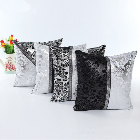 45x45cm Imitation Leather Thick Black White Splice Throw Pillow Case Cushion Cover Sofa 18 inch ()