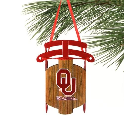 Oklahoma Sooners Official NCAA 4 inch  Metal Sled Christmas Ornament by Topperscot