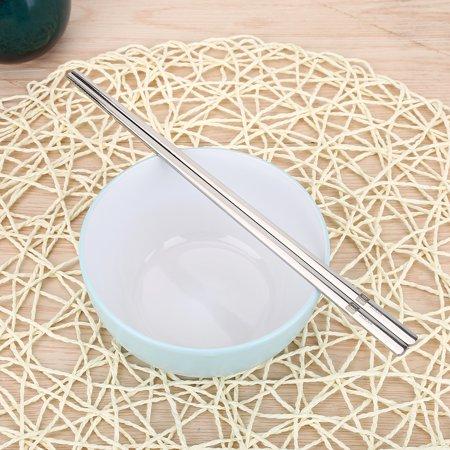 WALFRONT Solid Flat Stainless Steel Korean Chopsticks Set Tableware Dinnerware Gift Chopsticks Set,Solid Chopsticks - image 10 of 10
