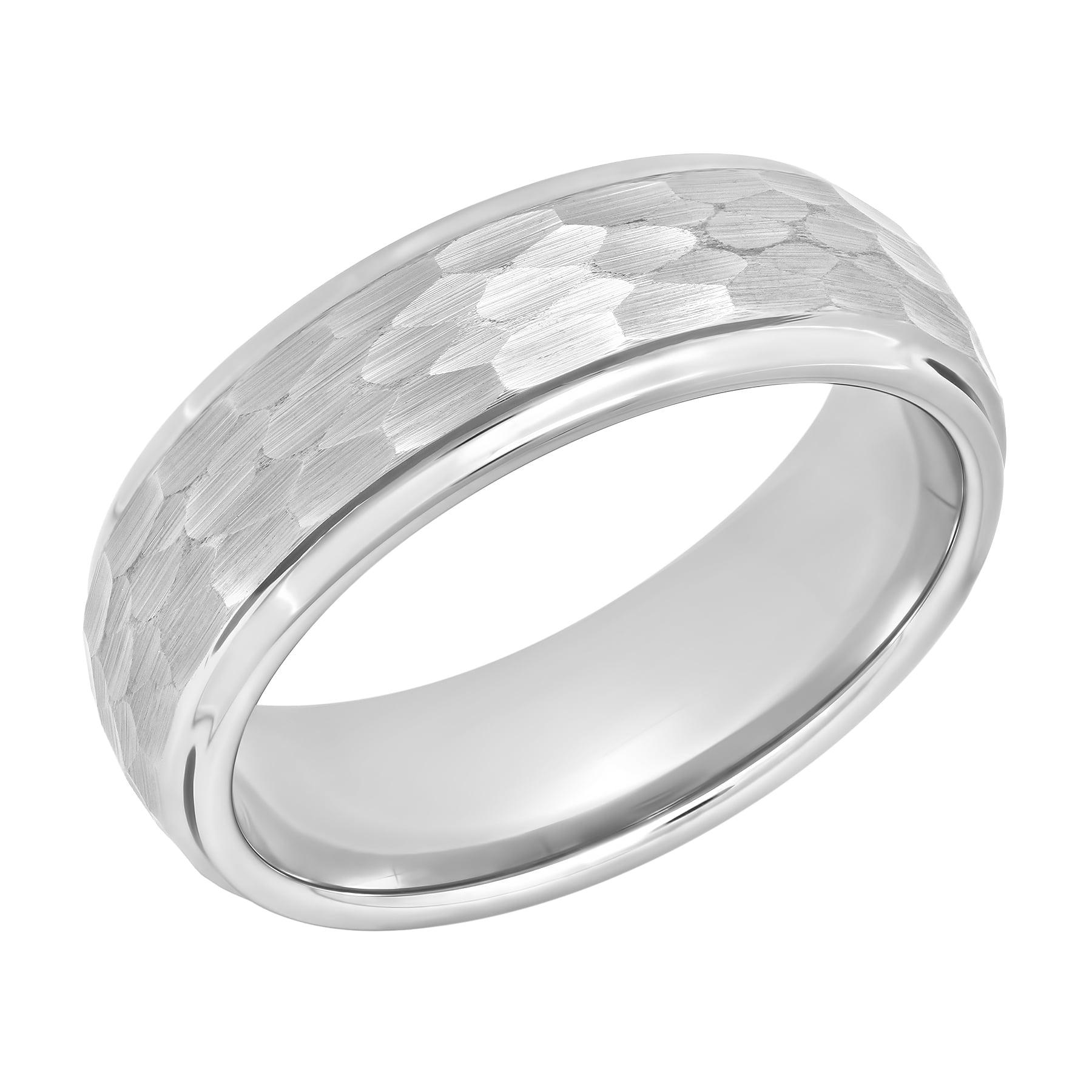 Men's Tungsten 8mm Hammered Finish Wedding Band  Mens Ring  Walmart