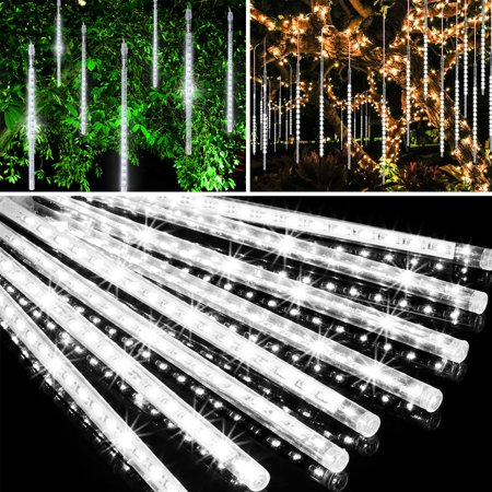 EEEKit Meteor Shower Lights 30cm 144LED 8 Tubes, LED Snowfall Falling Rain Drop Icicle Snow Fall String Waterproof Cascading Lights Indoor Outdoor Xmas Tree Wedding Party Decoration - 5/2/1Pcs ()