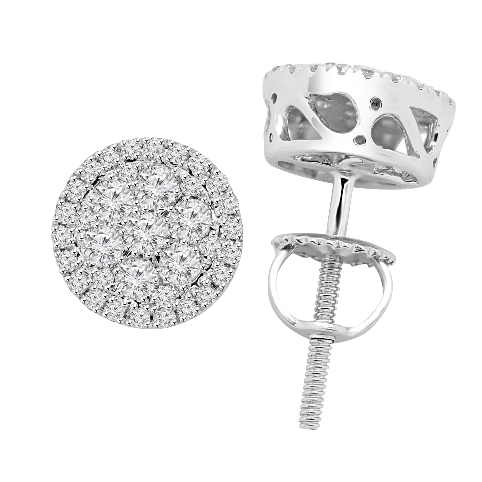 1/2 CTW Round Diamond Halo Stud Earrings in 14K White Gold (MDR140144) - image 1 de 2