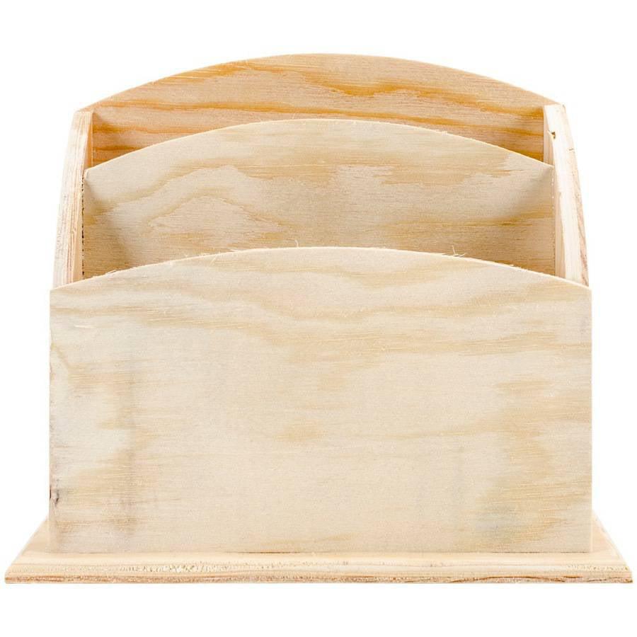 """Wood Craft 2-Slot Desk Caddy, 5.5"""" x 6.28"""""""