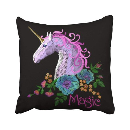 BPBOP Fantasy Unicorn Embroidery Patch Sticker Pink Violet Mane Horse Flower Arrange Poppy Pillowcase Cover 20x20 inch