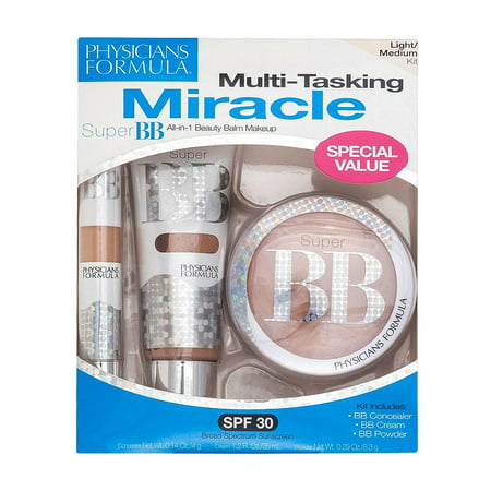 Physicians Formula Super Bb All In 1 Beauty Balm Makeup Kit  6201 Light Medium  3 Pc