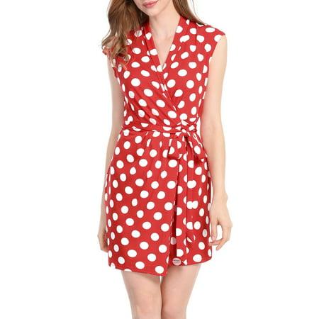 Women Wrap Dress Sleeveless Tie Waist Above Knee Polka Dots Wrap Dress Skirt (Polka Dot Skirt Halloween)