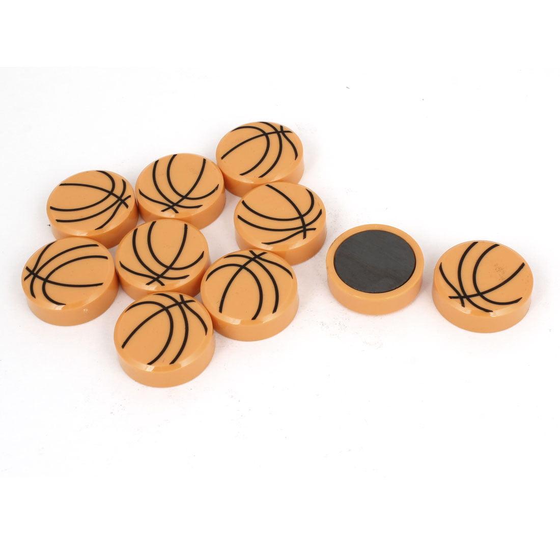 Unique Bargains 10 Pcs Basketball Print Round 1.2  Fridge Magnet Whiteboard Sticker Orange