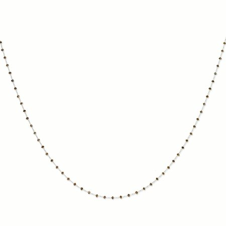 14k White Gold Coffee Brown Diamond Briolette Chain Necklace Pendant Charm Bead Station Gifts For Women For Her