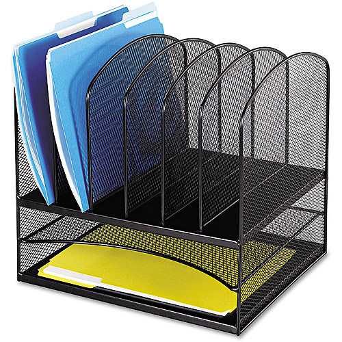 Safco Steel Mesh Desk Organizer, 8 Sections, Black