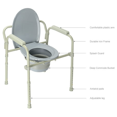 LIVINGbasics Commode Chair Aluminum alloy Toilet Seat Chair With Folding Commode Bucket, 7 Position - image 8 of 8