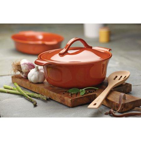Anolon Vesta Stoneware 2.5 Quart Covered Round Casserole Dish, Persimmon Orange