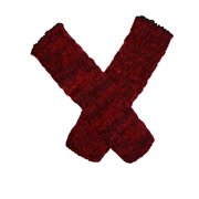 Fingerless Arm Warmers Textured Knit Marl Red or Black Mohair Wool Blend Color:: Scarlet