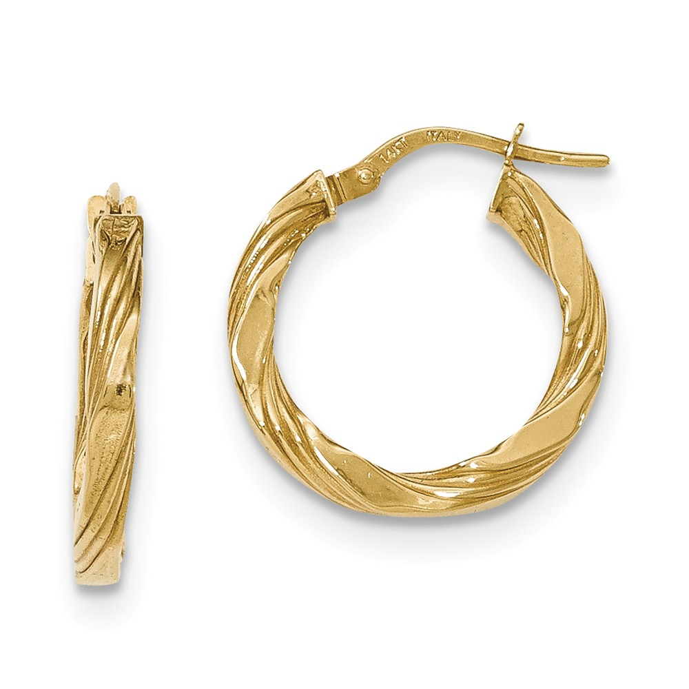 2.5mm 14k Yellow Gold Twisted Textured Hoop Earrings