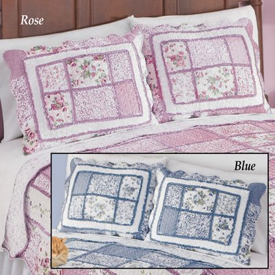 - Patchwork Classic Floral Pillow Sham with Scalloped Border, Rose, Sham